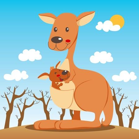 Baby canguro felice dentro la sua borsa mamma marsupio