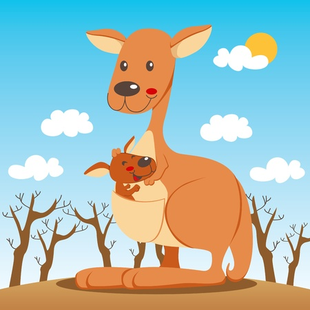 Baby kangaroo happy inside his mom marsupium pouch Illustration