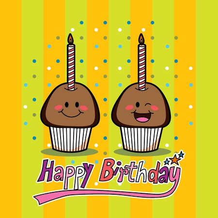 Two chocolate muffins with candle to celebrate second year birthday Vector