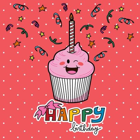 Pink strawberry cupcake with one candle to celebrate first year birthday Vector