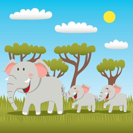 elefante cartoon: Madre de elefante con el hijo y la hija tras la cola de celebraci�n con tronco