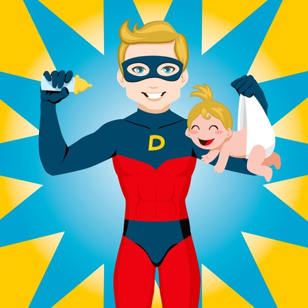 Superhero Dad feeding newborn baby girl Vector