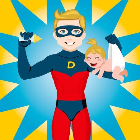 Superhero Dad feeding newborn baby girl