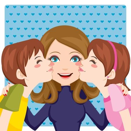 madre hijo: Hijo y la hija besar las mejillas feliz madre de ambos lados Vectores