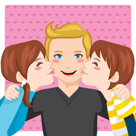 dad daughter: Son and daughter kissing happy father cheeks from both sides Illustration