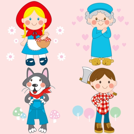 Set of characters from Little Red Riding Hood fairy tale Vector