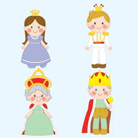 Satz von vier hübsch königlichen Familie Zeichen Vektorgrafik
