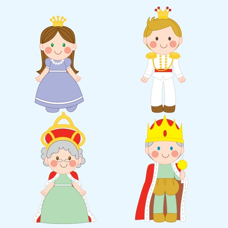 cartoon king: Set of four cute royal family characters