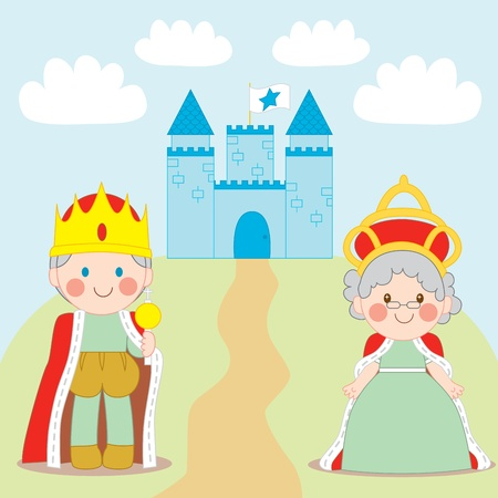 scepter: King and Queen standing outside blue castle with flag Illustration