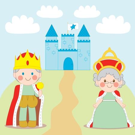 cetro: Pie de rey y Reina fuera Castillo azul con bandera Vectores