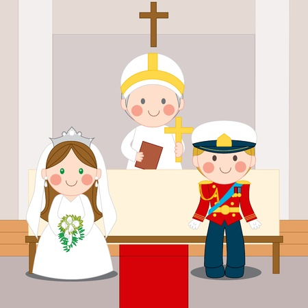 Royal wedding ceremony of Prince and Princess inside church with Bishop  Vector