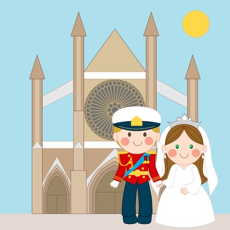 Prince and Princess standing in front of church after royal wedding Vector