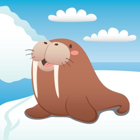 Cute walrus happy resting on floating iceberg