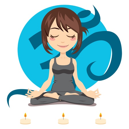 position: Cute brunette woman doing yoga lotus position with three candles in front