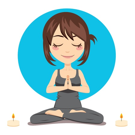 exercise cartoon: Cute brunette woman doing yoga lotus position with two candles on side
