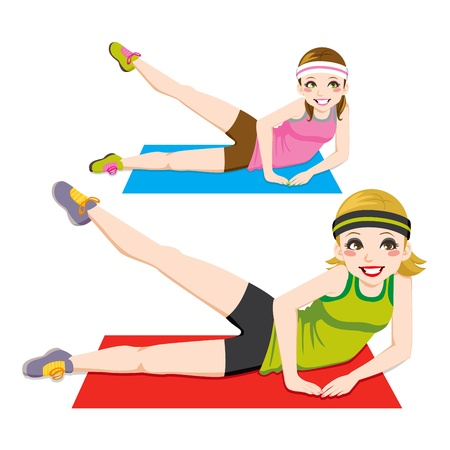 Two beautiful girls doing aerobic workout on exercise mat