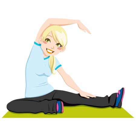 Gorgeous blond girl exercising flexibility with stretching posture Vector