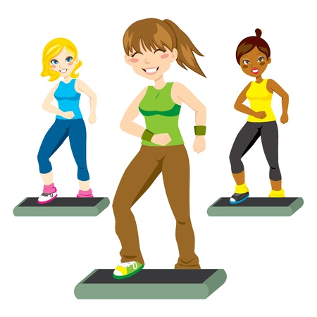 Three attractive women happily exercising aerobic steps