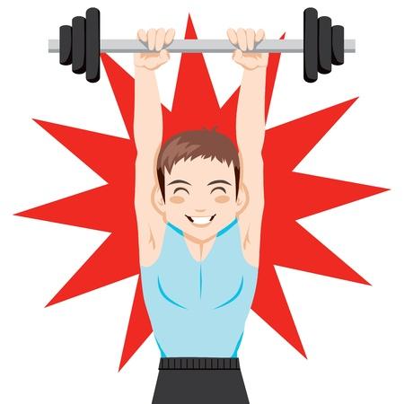 Hombre de joven guapo y fuerte ejercicio de levantamiento de pesas