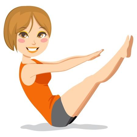 flexible woman: Delgado y linda mujer morena con pelo corto ejercicio a pilates ejercicios de estiramiento