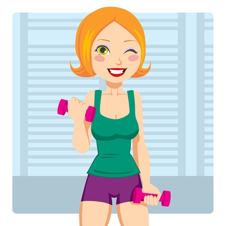 workout gym: Beautiful and fit red hair girl exercising with two dumbbell weights on her hands