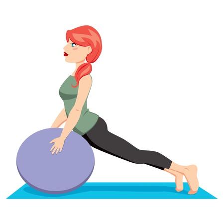 Vrij rood haar vrouw met pony staart uitoefening van pilates workout met bal rekken Vector Illustratie