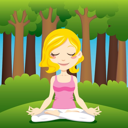sitting meditation: Cute blonde woman meditating and exercising yoga lotus position on the forest Illustration