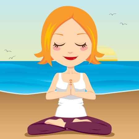 sitting meditation: Cute red hair woman meditating and exercising yoga lotus position on the beach