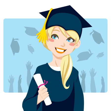 graduation gown: Young blond woman smiling celebrating graduation day holding diploma in her hand