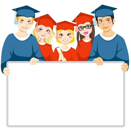cap and gown: Group of graduated men and women holding a white board with copy space for text