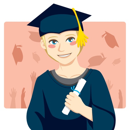 academic robe: Handsome blond man smiling celebrating graduation day holding diploma in his hand