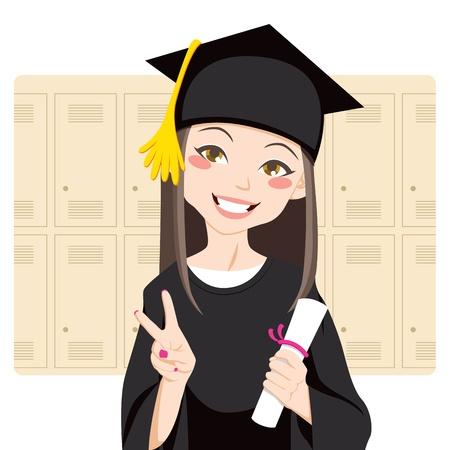 absolwent: Całkiem azjatyckich kobieta uśmiecha się z przodu schowki posiadania dyplomu w ręce i poddające ten znak zwycięstwa Ilustracja