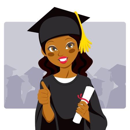 colleges: Hermosa mujer afroamericana celebrando el diploma de celebraci�n de d�a de graduaci�n en la mano y haciendo pulgar arriba signo
