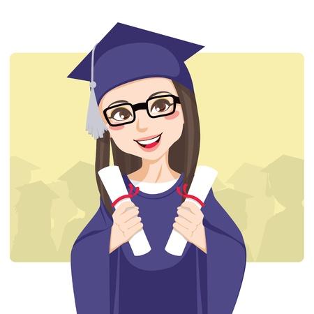 graduacion caricatura: Alegre morena con gafas celebrando t�tulos de dos de celebraci�n de d�a de graduaci�n en sus manos sonriendo