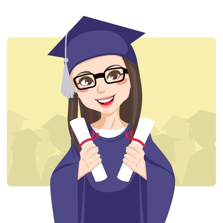 Joyful brunette with eyeglasses celebrating graduation day holding two diplomas on her hands smiling