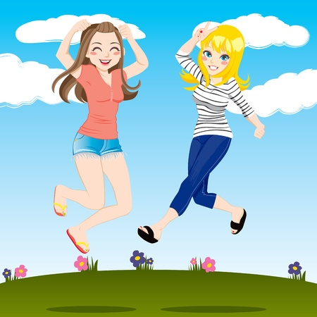Gorgeous brunette and blonde women friends jumping high outdoors smiling happy Stock Vector - 9668027