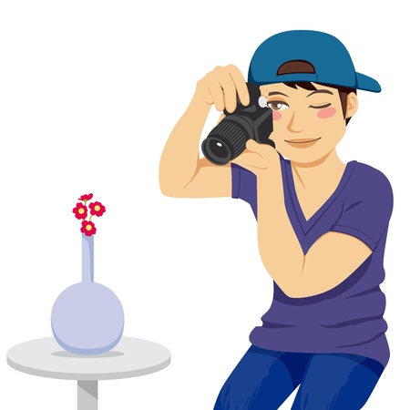 Young stock photographer taking a photo of red flowers on vase isolated on white Stock Vector - 9668018