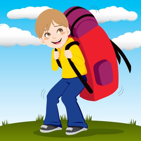 Little kid walking outdoors carrying a huge and heavy red backpack