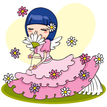Cute angel in pink dress sitting and smelling white flower