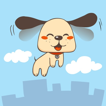 dog ears: Cute dog smiling flapping ears fast and flying skies over city buildings and clouds