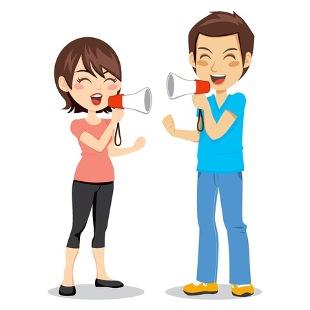 bullhorn: Funny concept of man and woman arguing and discussing with megaphone