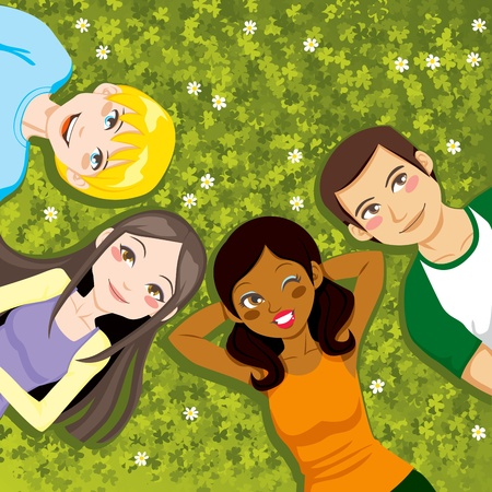 Four multi ethnic boys and girls friends resting happy together lying outdoors on a clover field Vector