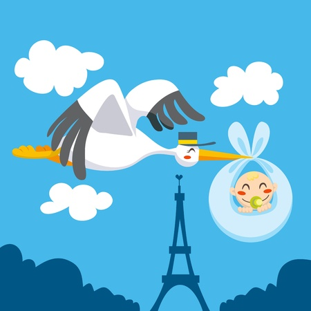 Cute stork flying the skies of  Paris over Eiffel Tower carrying a newborn baby for delivery Vector