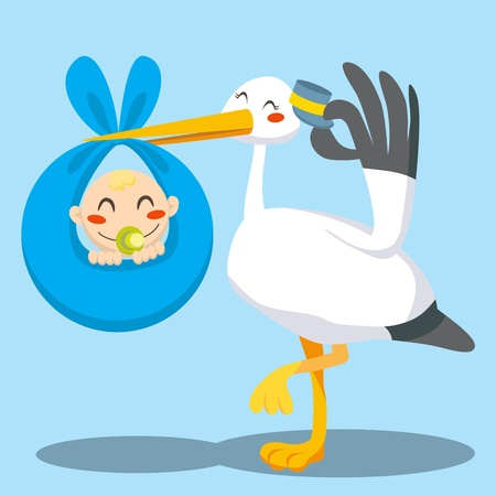 infancy: Stork with hat carrying a newborn baby boy on a blue blanket