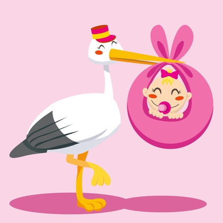 stork: Stork with hat carrying a newborn baby girl on a pink blanket