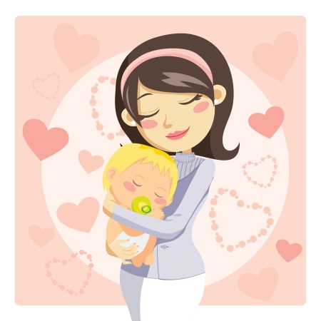 infancy: Young mother hugging her baby with care and love while he sleeps Illustration