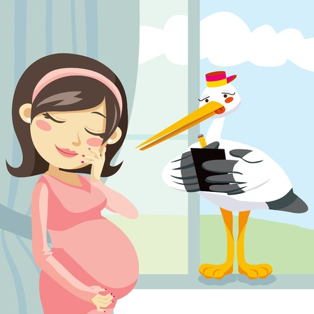 maternity: Stork taking notes from a pregnant woman for a good delivery