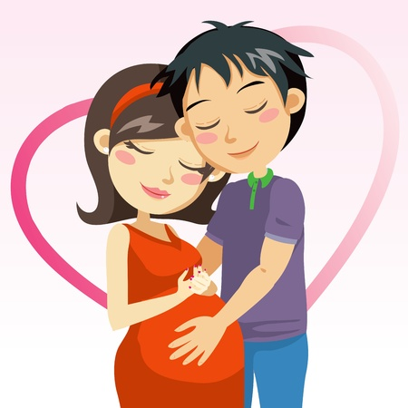 Young man touching the belly of his pregnant wife full of love Vector