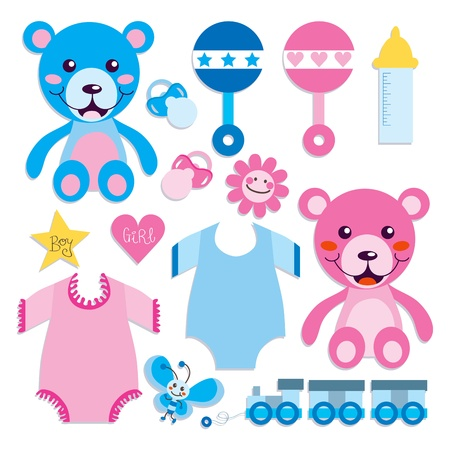 Collection of baby boy and girl objects, toys and elements Vector