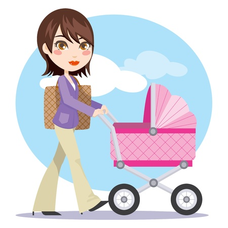 Young and active beautiful businesswoman mother pushing her baby carriage Vector